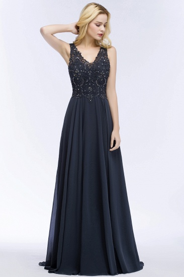 BMbridal A-line V-neck Sleeveless Long Appliqued Chiffon Prom Dress with Crystals_8