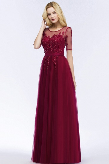 BMbridal A-line Floor Length Appliques Tulle Bridesmaid Dress with Sleeves_7