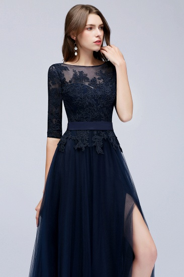 BMbridal Elegant Half-Sleeves Lace Navy Bridesmaid Dresses with Appliques_6