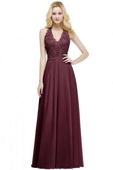 BMbridal A-line V-neck Sleeveless Long Appliques Chiffon Bridesmaid Dress_3
