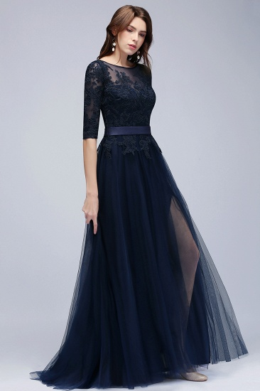 BMbridal Elegant Half-Sleeves Lace Navy Bridesmaid Dresses with Appliques_4