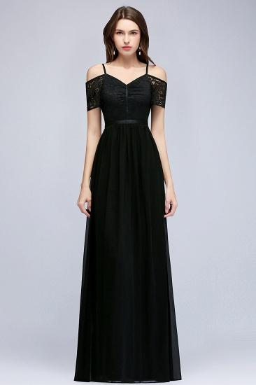 BMbridal A-line Long Spaghetti V-neck Black Lace Chiffon Bridesmaid Dress_5