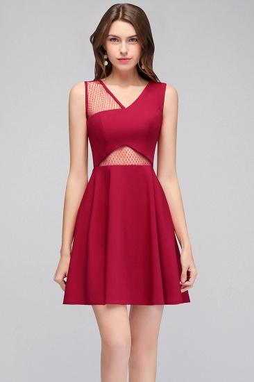 BMbridal A-line Sleeveless Short V-neck Tulle Neckline Homecoming Dress_5