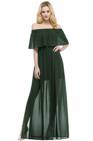 BMbridal A-line Off-the-shoulder Floor Length Black Chiffon Bridesmaid Dress_4