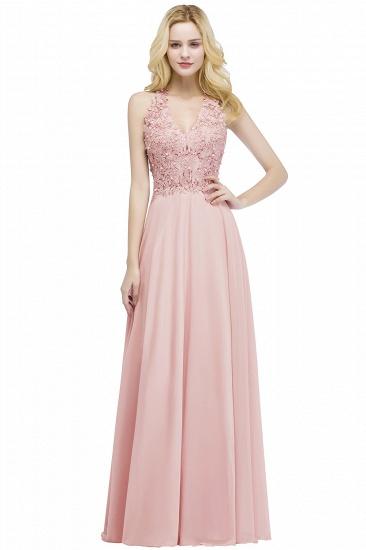 BMbridal A-line V-neck Sleeveless Long Appliques Chiffon Bridesmaid Dress_1