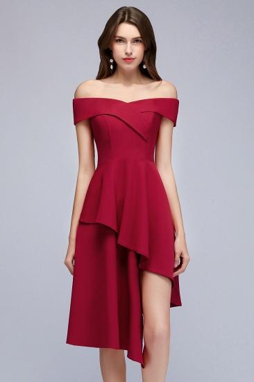 BMbridal A-line Asymmetrical Short Off-the-shoulder Burgundy Prom Dress_2