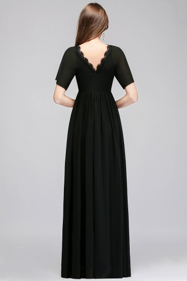 BMbridal Affordable Chiffon Black V-Neck Bridesmaid Dresses with Short-Sleeves_3