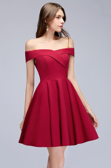 BMbridal A-line Off-the-shoulder Short Burgundy Homecoming Dress_10