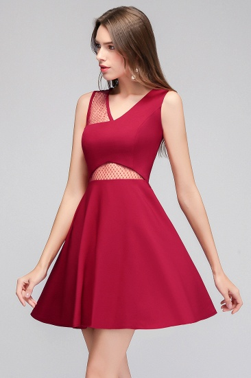 BMbridal A-line Sleeveless Short V-neck Tulle Neckline Homecoming Dress_7