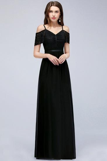BMbridal A-line Long Spaghetti V-neck Black Lace Chiffon Bridesmaid Dress_4