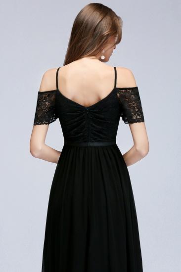 BMbridal A-line Long Spaghetti V-neck Black Lace Chiffon Bridesmaid Dress_8