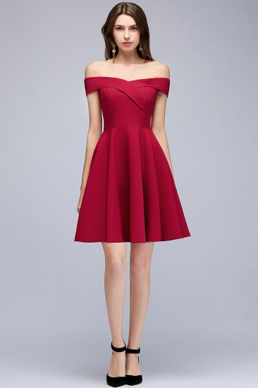 BMbridal A-line Off-the-shoulder Short Burgundy Homecoming Dress_5