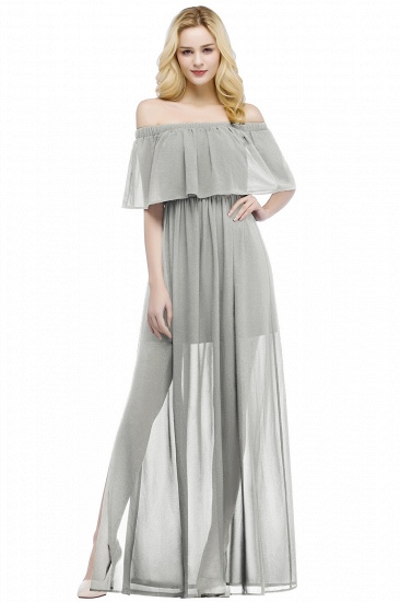 BMbridal A-line Off-the-shoulder Floor Length Black Chiffon Bridesmaid Dress_3