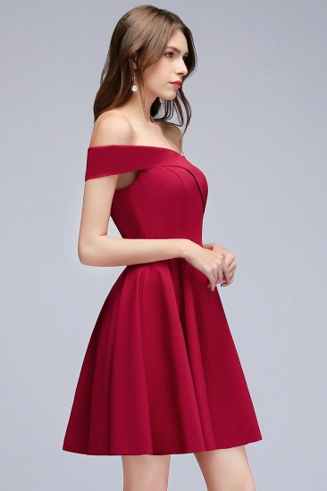 BMbridal A-line Off-the-shoulder Short Burgundy Homecoming Dress_7