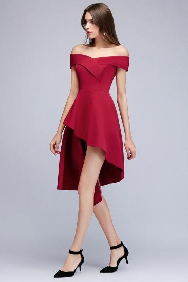 BMbridal A-line Asymmetrical Short Off-the-shoulder Burgundy Prom Dress_6