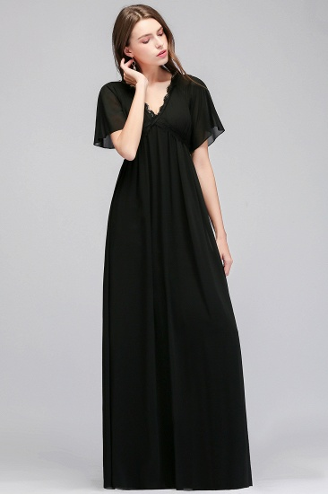 BMbridal Affordable Chiffon Black V-Neck Bridesmaid Dresses with Short-Sleeves_5