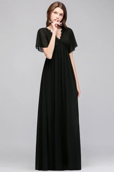 BMbridal A-line V-neck Short Sleeves Long Black Chiffon Bridesmaid Dress_5