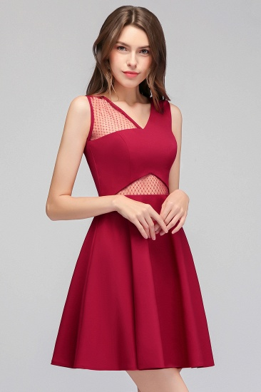 BMbridal A-line Sleeveless Short V-neck Tulle Neckline Homecoming Dress_1