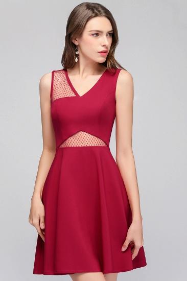 BMbridal A-line Sleeveless Short V-neck Tulle Neckline Homecoming Dress_8