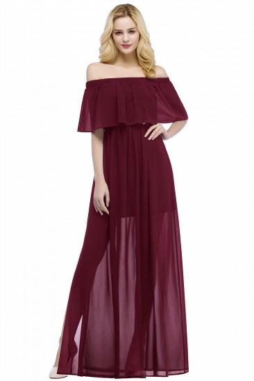 BMbridal A-line Off-the-shoulder Floor Length Black Chiffon Bridesmaid Dress_1