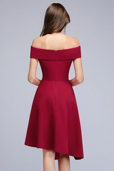 BMbridal A-line Asymmetrical Short Off-the-shoulder Burgundy Prom Dress_5