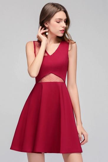 BMbridal A-line Sleeveless Short V-neck Tulle Neckline Homecoming Dress_4