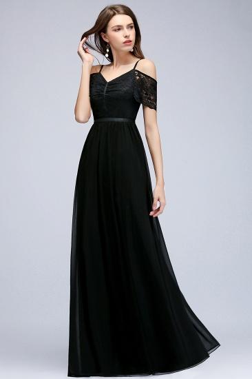 BMbridal A-line Long Spaghetti V-neck Black Lace Chiffon Bridesmaid Dress_6