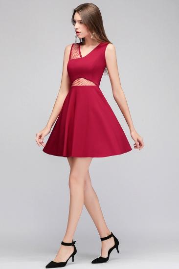 BMbridal A-line Sleeveless Short V-neck Tulle Neckline Homecoming Dress_6