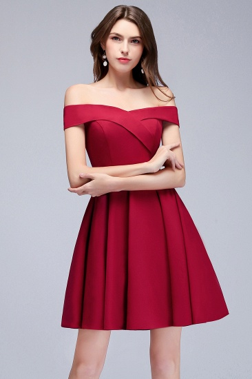 BMbridal A-line Off-the-shoulder Short Burgundy Homecoming Dress_6