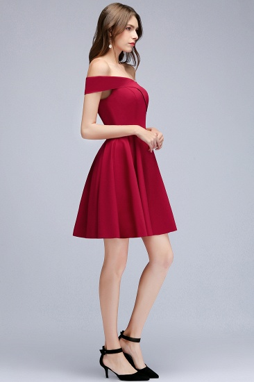 BMbridal A-line Off-the-shoulder Short Burgundy Homecoming Dress_11