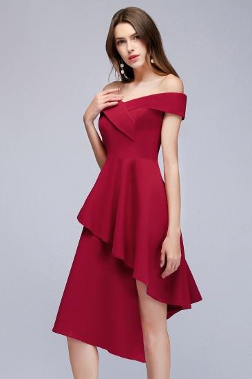 BMbridal A-line Asymmetrical Short Off-the-shoulder Burgundy Prom Dress_8