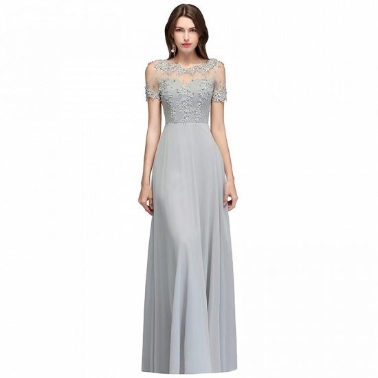 BMbridal Short Sleeve Lace Appliques Long Prom Party Dress_2