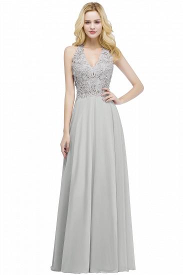 BMbridal A-line V-neck Sleeveless Long Appliques Chiffon Bridesmaid Dress_5