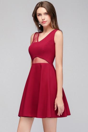 BMbridal A-line Sleeveless Short V-neck Tulle Neckline Homecoming Dress_9