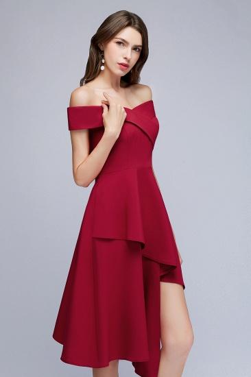 BMbridal A-line Asymmetrical Short Off-the-shoulder Burgundy Prom Dress_7