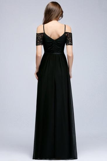 BMbridal A-line Long Spaghetti V-neck Black Lace Chiffon Bridesmaid Dress_3