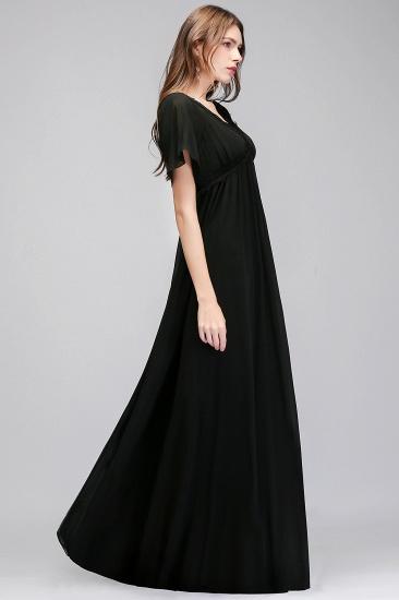 BMbridal A-line V-neck Short Sleeves Long Black Chiffon Bridesmaid Dress_6