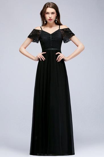 BMbridal A-line Long Spaghetti V-neck Black Lace Chiffon Bridesmaid Dress_1