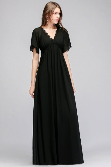 BMbridal Affordable Chiffon Black V-Neck Bridesmaid Dresses with Short-Sleeves_4