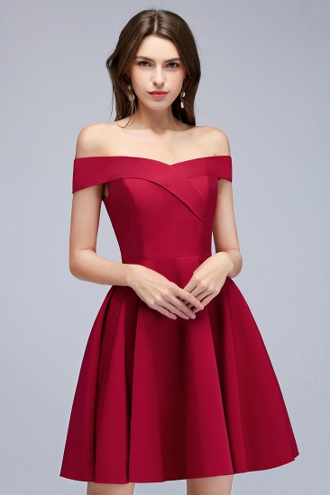 BMbridal A-line Off-the-shoulder Short Burgundy Homecoming Dress_9