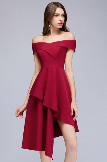 BMbridal A-line Asymmetrical Short Off-the-shoulder Burgundy Prom Dress_10