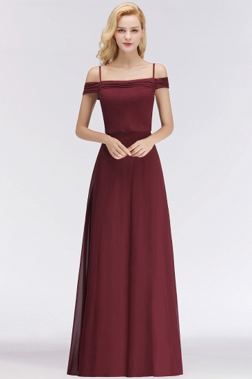 Elegant Off-the-Shoulder Burgundy Bridesmaid Dress Online Spaghetti-Straps Cheap Maid of Honor Dress_2
