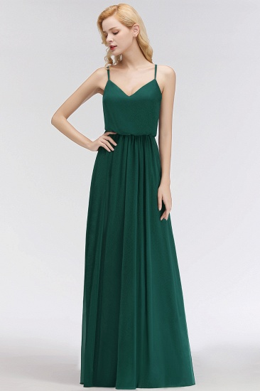 BMbridal Dark Green Chiffon Spaghetti-Straps Modest Bridesmaid Dress Online_4