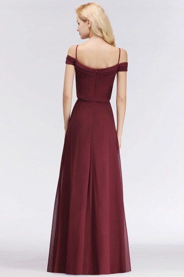 Elegant Off-the-Shoulder Burgundy Bridesmaid Dress Online Spaghetti-Straps Cheap Maid of Honor Dress_3
