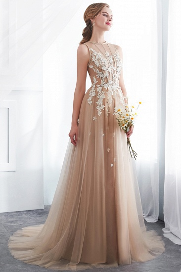 Elegant Sleeveless Tulle Prom Dress Long Evening Gowns With Appliques_5