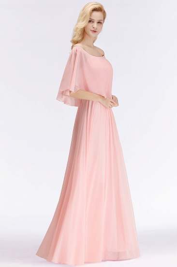 Affordable Flounced Crinkle Halter Bridesmaid Dresses Modest Pink Chiffon Wedding Party Dress_4