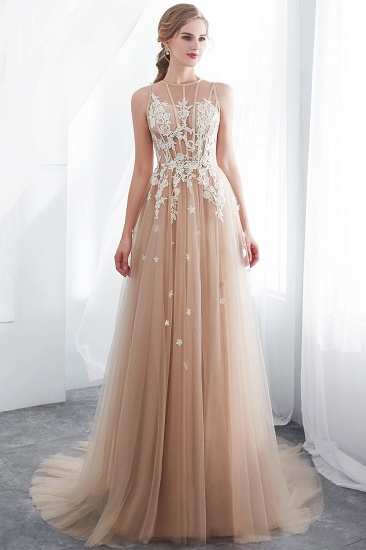 Elegant Sleeveless Tulle Prom Dress Long Evening Gowns With Appliques_7