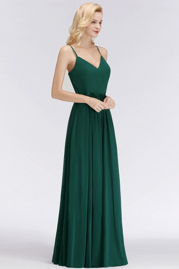BMbridal Dark Green Chiffon Spaghetti-Straps Modest Bridesmaid Dress Online_6