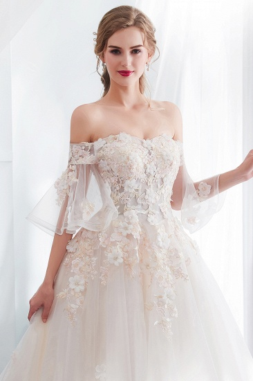 BMbridal Off-the-shoulder Appliques Ball Gown Wedding Dress Online_8