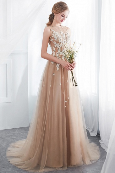 Elegant Sleeveless Tulle Prom Dress Long Evening Gowns With Appliques_8